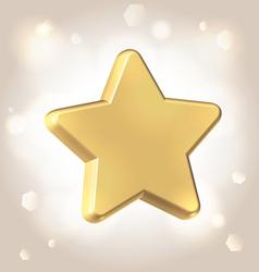 Golden metallic star prize vector image