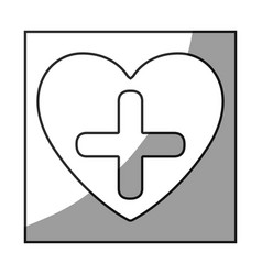 Grayscale square frame shading with heart and vector