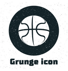 Grunge basketball ball icon isolated on white vector