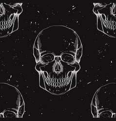 grunge seamless pattern with human skulls vector image