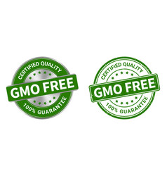 grunge stamp and silver label gmo free vector image