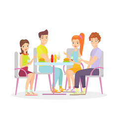 happy friends are sitting vector image