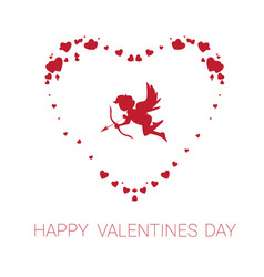 happy valentine day greeting card cute cupid in vector image