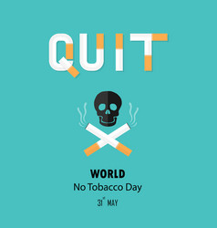 human skull and cigarettequit tobacco logo vector image