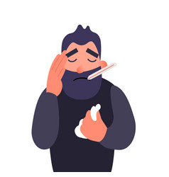 Ill person with flu sickness vector