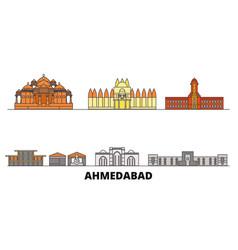 India ahmedabad flat landmarks vector