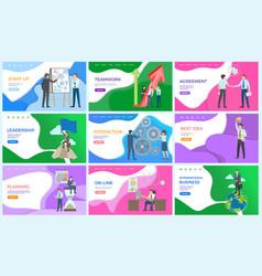 International business teamwork and agreement set vector