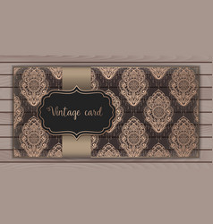 Invitation cards with damask vector