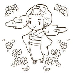 japanese girls wearing kimono doodle vector image
