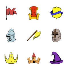 Knight icons set cartoon style vector