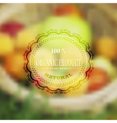 Label for organic health food with blurred vector image