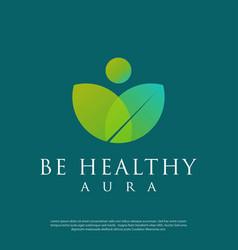 Leaf logo in form a human meditating vector