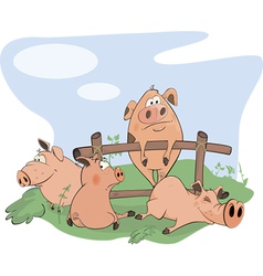 Little pigs cartoon vector