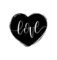 love hand lettering phrase valentines day vector image
