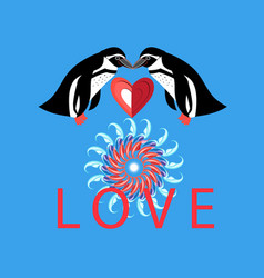 loving penguins with heart on blue vector image