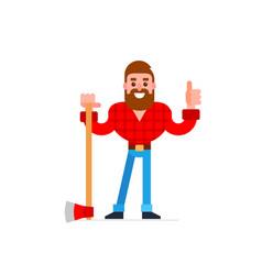 Lumberjack thumb up cartoon character vector