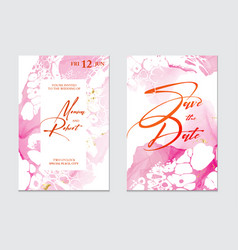 Luxury pink wedding cards with marble texture vector