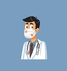 Male doctor receiving kisses appreciation vector