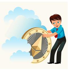 Man holding ether golden coin flat poster vector