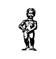 Manneken pis statue in brussels belgium vector