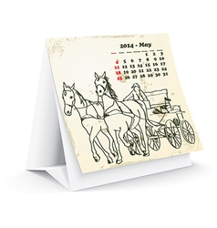 May 2014 desk horse calendar vector image