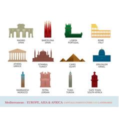 mediterranean europe africa asia cities landmarks vector image