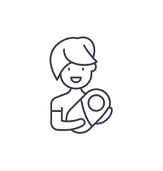 mom with baby line icon concept mom with baby vector image
