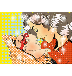 mothers day mother and daughter in pop art retro vector image
