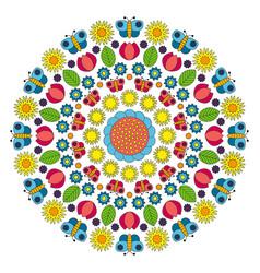 multi colored circular spring mandala vector image