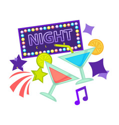 night party or dance club icons of vector image