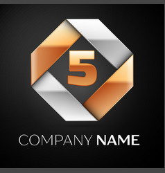 Number five logo symbol in the colorful rhombus on vector