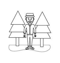 outline happy man with hat style and clothes vector image