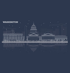 outline washington dc skyline with white vector image
