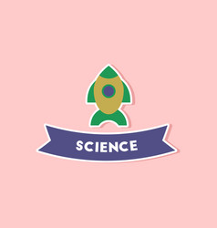 Paper sticker on stylish background rocket science vector