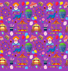 Pattern with circus and amusement elements vector