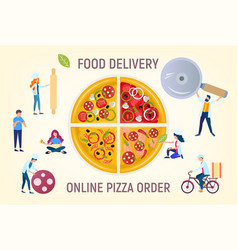 people cook pizza pizza delivery order online vector image
