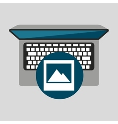 Person working laptop picture social media graphic vector