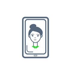 phone cell female icon on monitor screen vector image