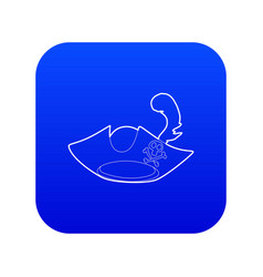 Pirate hat icon blue vector