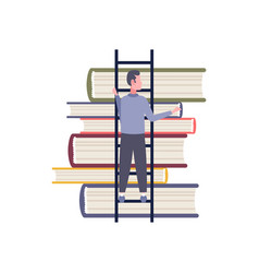 rear view businessman climbing ladder book stack vector image