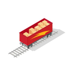 Red open top container train with cardboard vector