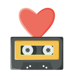 retro music cassette with heart love vector image