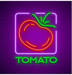 Ripe red tomato neon sign vector