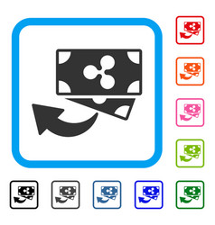 Ripple cashback framed icon vector