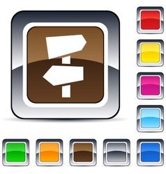 road arrows square button vector image