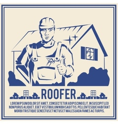 Roofer silhouette poster poster vector image
