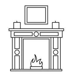 Room fire place icon outline style vector