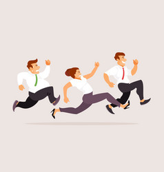 running business people vector image