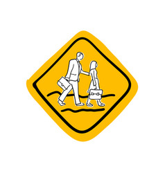 school road warning sign sketch vector image