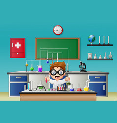 Scientist boy in laboratory research with chemical vector